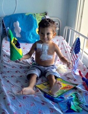 A boy from a remote part of the Amazon region a few days after cardiac surgery. Photo courtesy of CardioStart International.