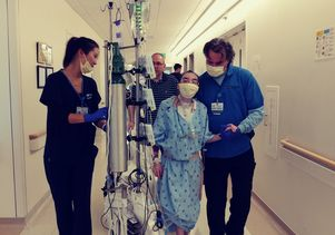Kathlyn Chassey walks after her lung transplant surgery at Reagan UCLA Medical Center. Credit: Courtesy of the Chassey family